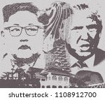 singapore  june 9 2018  trump... | Shutterstock . vector #1108912700
