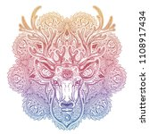 ornate deer head with beautiful ... | Shutterstock .eps vector #1108917434