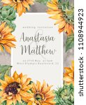 sunflowers hand paint floral... | Shutterstock . vector #1108944923