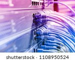 network cables in switch and... | Shutterstock . vector #1108950524