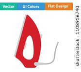 steam iron icon. flat color...