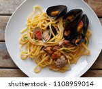 top view spaghetti pasta with... | Shutterstock . vector #1108959014