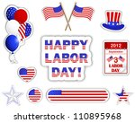labor day stickers with a... | Shutterstock .eps vector #110895968
