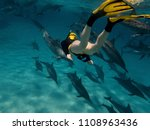 a young women free diving with... | Shutterstock . vector #1108963436