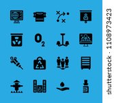 scarecrow, television, responsible use of water, sound system, bookshelf, chemical, syringe, oxygen and bag vector icon. Simple icons set