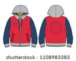 hooded sport sweatshirt with...   Shutterstock .eps vector #1108983383