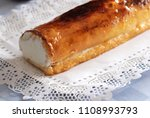 cake rolled filled with cream...   Shutterstock . vector #1108993793