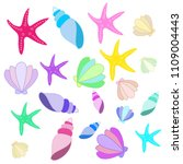 set of seashells and starfishes | Shutterstock .eps vector #1109004443