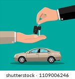 hand gives car keys to another... | Shutterstock .eps vector #1109006246