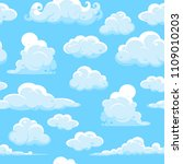 blue sky with clouds  seamless... | Shutterstock .eps vector #1109010203