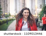 beautiful young woman in red... | Shutterstock . vector #1109013446