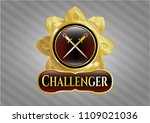 shiny badge with crossed... | Shutterstock .eps vector #1109021036