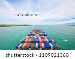 aerial view container cargo...   Shutterstock . vector #1109021360