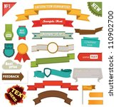 set of retro ribbons and labels | Shutterstock .eps vector #110902700