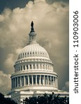 Stock photo us capitol building dome detail in clouds split toned 110903006