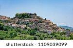Landscape Gesualdo village, from district Avellino, Campania, Italy