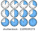 set of clock icons showing... | Shutterstock .eps vector #1109039273