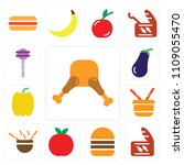 set of 13 simple editable icons ... | Shutterstock .eps vector #1109055470