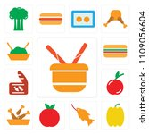 set of 13 simple editable icons ... | Shutterstock .eps vector #1109056604