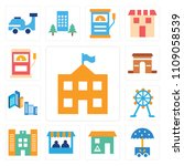 set of 13 simple editable icons ... | Shutterstock .eps vector #1109058539