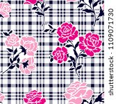 roses pattern on checkered...   Shutterstock .eps vector #1109071730