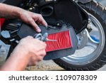 cleaning the air filter ... | Shutterstock . vector #1109078309