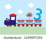 cute train 3 years old birthday ... | Shutterstock .eps vector #1109097233