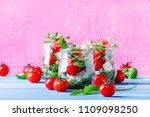 summer salad with arugula  soft ... | Shutterstock . vector #1109098250