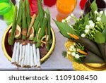 buddha and hindu offering for...   Shutterstock . vector #1109108450