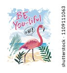 typography slogan with flamingo ... | Shutterstock .eps vector #1109111063