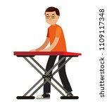 musician with keyboard in flat... | Shutterstock .eps vector #1109117348