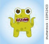 green cute monster over blue... | Shutterstock .eps vector #110912423