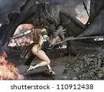 Dragon Slayer, female sexy warrior engaged with an ancient winged fire breathing dragon. - stock photo