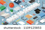 vector isometric back to school ... | Shutterstock .eps vector #1109125853