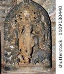 Small photo of Goddess Durga idol at Panchalingeshwara Temple, Govindanahalli, Mandya district, Karnataka state, India. It was constructed around 1238 AD during the reign of the Hoysala empire King Vira Someshwara.