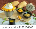 korean mango bingsu  sweet milk ... | Shutterstock . vector #1109134640