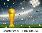 soccer trophy cup on field in... | Shutterstock .eps vector #1109136053