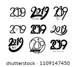 set of 2019 text design pattern.... | Shutterstock .eps vector #1109147450
