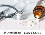 stethoscope  pills  vials in... | Shutterstock . vector #1109152718