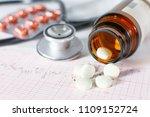 stethoscope  pills  vials in... | Shutterstock . vector #1109152724