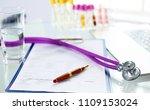 closeup of the desk of a... | Shutterstock . vector #1109153024