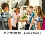 group teenagers of high school... | Shutterstock . vector #1109155283