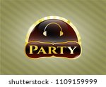 gold shiny emblem with... | Shutterstock .eps vector #1109159999