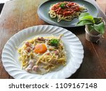 spaghetti carbonara with egg... | Shutterstock . vector #1109167148