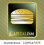 gold badge or emblem with...   Shutterstock .eps vector #1109167379