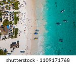 drone photo of a turquoise... | Shutterstock . vector #1109171768