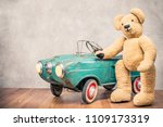 teddy bear standing near rusty... | Shutterstock . vector #1109173319