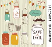 glass jars  frames and cute... | Shutterstock .eps vector #110917364