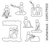 people digging  excavating or... | Shutterstock .eps vector #1109179523