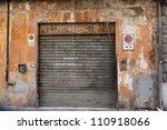 Old Grey Garage Door At A Old...